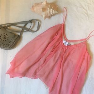 Elizabeth & James pink handkerchief tank blouse L